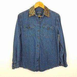 Vintage | Denim Button Down Leopard Collar